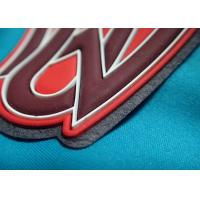 Quality Custom Logo Embossed Self Adhesive Clothing Patches , Silicone Garment Patch 3D Rubber Clothing Labels for sale