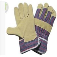 Wholesale XL Mens Working Pig Skin Leather Gloves with Blue - red Striped Cotton Back from china suppliers