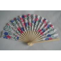 Wholesale 21cm Folding Hand Fans / Foldable Fan With Print Silk Fabric from china suppliers