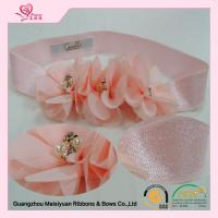 Wholesale Pink Custom elastic baby headbands , Elastic Flower headbands for newborns / little girls from china suppliers