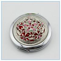 Wholesale 2014 hot sale silver diamond metal pocket mirrors from china suppliers