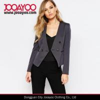 Wholesale Ladies Textured Collarless Office Wear Cropped Blazer in Charcoal from china suppliers