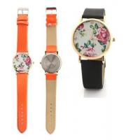Quality Colorful PU Leather Strap Women Flower Quartz Watches Plated Gold Bezel for sale