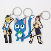 Wholesale high quality cheap price custom logo soft pvc personalized fairy tail happy keychains from china suppliers