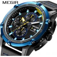 Wholesale MEIGR Men Chronograph Multifunction Racing Watch Waterproof 30m Genuine Leather Strap Casual Watches 2062G from china suppliers