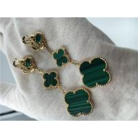 Wholesale 18K Gold Jewelry Factory VCA Magic Alhambra earrings 3 motifs malachite 18K yellow gold jewelry from china suppliers