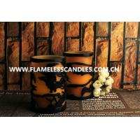 Wholesale 2 Layer Carved LED Pillar Candle With Halloween Pattern , Wireless LED Candle Lights from china suppliers