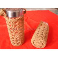Wholesale Orange Handles Cotton Crochet Cup Cozy Hollow Out , Handmade Knitted Cup Sleeve from china suppliers