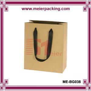 Wholesale Kraft paper shopping bag/clothing kraft bag with ribbon handle/hot sale paper kraft bag ME-BG038 from china suppliers