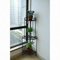 Wholesale Plant Stand/Corner Bakers Rack 3 Shelves, Made of Wrought Iron from china suppliers