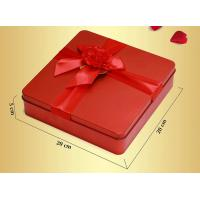 Wholesale Red Custom Novelty Tea Tin Box Food Grade With Metalwire Lid / PS Window from china suppliers