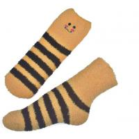 Wholesale Yellow Smile pattern mens aloe socks Polyester plush therapy 19x13x8.5 cm from china suppliers