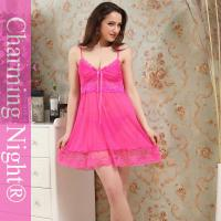 Wholesale Nylon / Polyester pink babydoll chemise Lingerie , beautiful women sleepwear from china suppliers