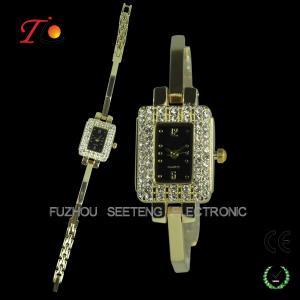 Diamond inset case and metal band  slim stone quartz watch for ladies