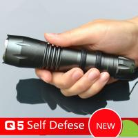 Wholesale Self Defense Function CREE Q5 Led Flashlight/Torch with Stainless Steel Head 5 Files 18650 from china suppliers