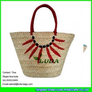 China LUDA embroidery pattern handbag  fashion big cornhusk straw bag 2013 on sale