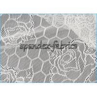Wholesale Lotus Flower And Hexagon Pattern Sheer Lace Fabric Stretch Jacquard from china suppliers