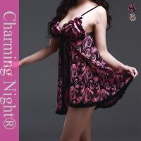 Wholesale Printed Feather Nice Sexy Nylon Lingerie , Sexy Babydoll Lingerie Night Skirt from china suppliers