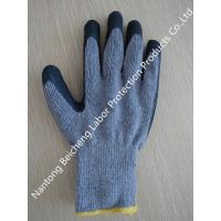 Wholesale 10 Gauge Grey Latex Coated Gloves T/C Dip Palm , Black Crinkle from china suppliers