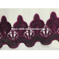 Wholesale Rose Red Embroidered Water Soluble Lace Trimmings Wavy Shape 36G Per Yard from china suppliers