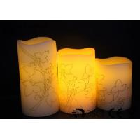 Quality 3 PK  Real Wax Electronic Candles with Flower design , Carved  LED Candles for sale