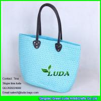 Wholesale LUDA sky blue sea bag 2015 summer pp straw braided beach bag from china suppliers