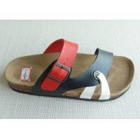 Wholesale Custom Two Belts Men Cork Sandals , Cork + EVA Black / Red Anti-skidding from china suppliers