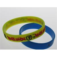 Wholesale yellow silicone wristband with two ink filled from china suppliers