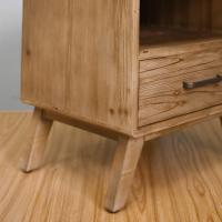 Rustic One Draw Solid Wood Bedside Cabinets , Portable Bedside Night Tables