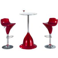 Wholesale Tempered Small Modern Glass Bar Table Round With Chrome Legs And Stools from china suppliers