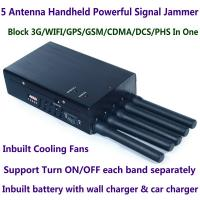 Wholesale 5 Antenna Handheld Cell Phone 3G WIFI GPS GSM CDMA DCS PHS Signal Jammer 20M Shield Radius from china suppliers