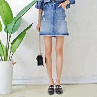 Wholesale Women A Line Denim Mini Skirt With Pearls , Summer Short Jean Skirt for Ladies from china suppliers