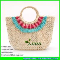 Wholesale LUDA fashion hand-woven straw bag colorful macrame cornhusk straw beach tote bag from china suppliers