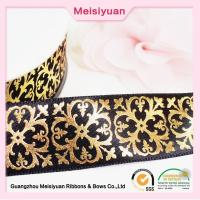 Wholesale Gift Package hot foil ribbon With Printed Flower Pattern , christmas present ribbon Black Satin Ribbon from china suppliers