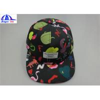 Quality Polyester Custom Printed Unisex 5 Panel Camp Cap With Woven Label on the Front for sale