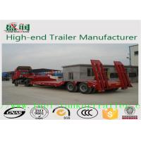 Quality Tri - Axle 60 Ton Low Flatbed Semi Trailer / Low Bed Truck Trailer For Excavator Transportation for sale