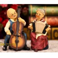 Wholesale Coloured drawing or pattern resin wedding gift a couple playing guitar from china suppliers