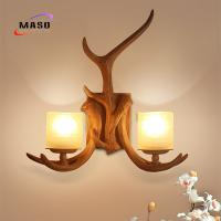 Wholesale MASO Retro Antler Wall Sconce Lamp CE Standard Resin Material Factory Wholesale E14 Light Source for Project Installing from china suppliers