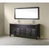 Buy cheap Black Wood Veneer Floor Standing Bathroom Cabinet With Wood Frame Mirror from wholesalers