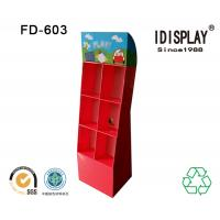Wholesale Cardboard Red DVD Player Floor Display Stand With Mulit-Pockets For Big Promotion from china suppliers