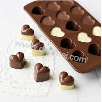 Wholesale High Quality 15 Cavities Heart Shape Silicone Chocolate Mold Mini Candy Mold from china suppliers
