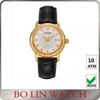 Wholesale 40mm Case Size Leather Strap 18k Solid Gold Watches For Women Customised Logo from china suppliers
