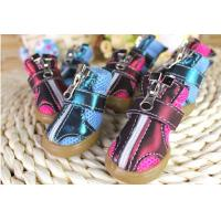 Wholesale Custom made Zipper Winter small Pet Dog Shoes with PU Leather black from china suppliers