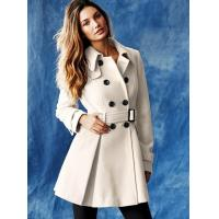 China White Double Breasted Ladies Fashion Coats Long Wool Girls Clothing on sale