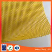 China PVC Coated Polyester Mesh textile yellow color 1x1 weave Textilene on sale