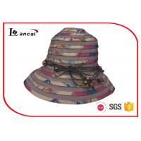 Wholesale Bucket Style Wide Brimmed Straw Hat With Nylon Rope Decoration Band from china suppliers