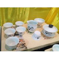 Wholesale tea sets 10 pieces ink and wash painting white porcelain made from china suppliers