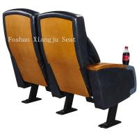 Quality Steel Legs Wooden Armrest Genuine Leather Theater Seating Chairs With Cup Holder XJ-6878 for sale