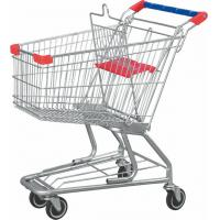 Wholesale Low Carbon Steel American Grocery Shopping Trolley With Base Grid / Bottom Tray from china suppliers