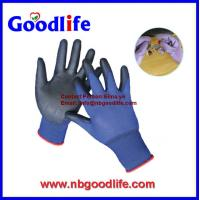 Quality 13 gauge nylon knitted dark blue pu gloves for sale